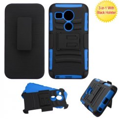 LG Nexus 5X Black/Dark Blue Advanced Armor Stand Case with Black Holster
