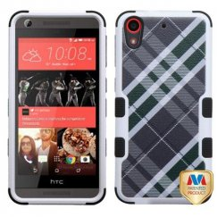HTC Desire 626 Forest Green/Gray Diagonal Plaid/Black Hybrid Case