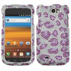 Samsung Exhibit II 4G Leopard Skin/Purple Diamante Case