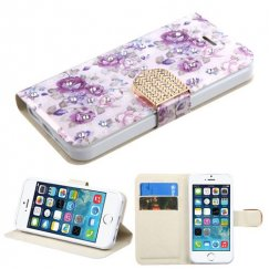 Apple iPhone 5s Fresh Purple Flowers Diamante Wallet with Diamante Belt