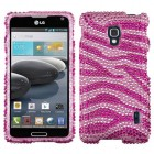 LG Optimus F6 Zebra Skin (Pink/Hot Pink) Diamante Protector Cover