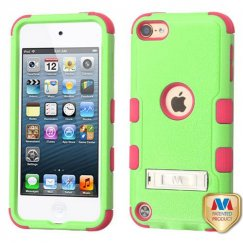 Apple iPod Touch (6th Generation) Natural Pearl Green/Electric Pink Hybrid Case with Stand