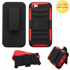 Apple iPhone 5/5s Black/Red Advanced Armor Stand Case with Black Holster