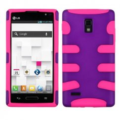 LG Optimus L9 Rubberized Grape/Electric Pink Fishbone Case