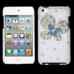 Apple iPod Touch (4th Generation) Blue-Dot Butterfly Pearl 3D Diamante Back Case