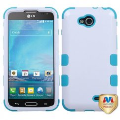 LG Optimus L90 Ivory White/Tropical Teal Hybrid Case