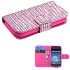 ZTE Concord 2 Pink Diamonds Book-Style Wallet with Card Slot