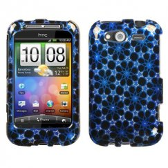 HTC Wildfire S Twinkle Stars/Blue 2D Silver Sparkle Case