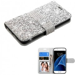 Samsung Galaxy S7 Silver Mini Crystals with Silver Belt Wallet