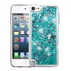 Apple iPod Touch (6th Generation) Hearts & Green Quicksand Glitter Hybrid Case