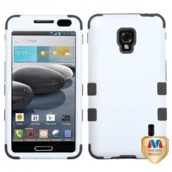 LG Optimus F6 Ivory White/Black Hybrid Case