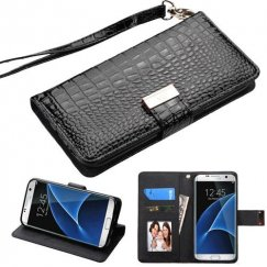 Samsung Galaxy S7 Edge Black Crocodile-Embossed Wallet