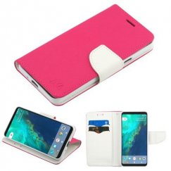 Google Pixel 2 Hot Pink Pattern/White Liner wallet with card slot