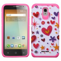 Alcatel One Touch Elevate Heart Graffiti(White)/Hot Pink Advanced Armor Case