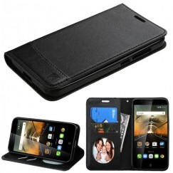 Alcatel One Touch Conquest Black/Black wallet with Card Slot