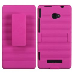 HTC Windows Phone 8x Rubberized Hot Pink Hybrid Holster
