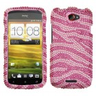 HTC One S Zebra Skin (Pink/Hot Pink) Diamante Case