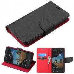 Alcatel One Touch Fierce XL Black Pattern/Red Liner Wallet with Card Slot
