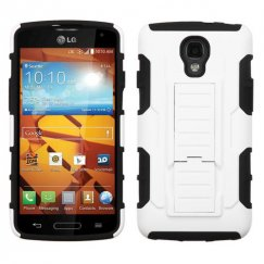 LG LS740 Volt White/Black Car Armor Stand Case - Rubberized
