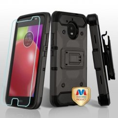 Motorola Moto E4 Dark Grey/Black 3-in-1 Kinetic Hybrid Case Combo with Black Holster and Tempered Glass Screen Protector