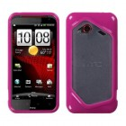 HTC Droid Incredible 4G LTE Transparent Clear/Solid Hot Pink Gummy Cover