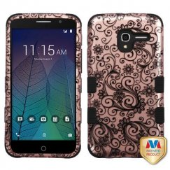 Alcatel Stellar / Tru 5065 Black Four-Leaf Clover 2D Rose Gold/Black Hybrid Case