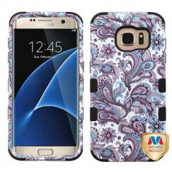 Samsung Galaxy S7 Edge Purple European Flowers/Black Hybrid Case