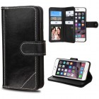 Apple iPhone 6/6s Plus Black Genuine Leather D'Lux Wallet with Button Closure