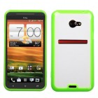 HTC EVO 4G LTE Transparent Clear/Solid Green Gummy Cover