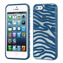 Apple iPhone 5 Transparent Clear/Dark Blue(Zebra Skin) Gummy Cover