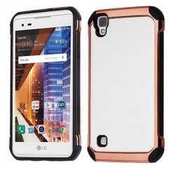 LG X Style / Tribute HD White Lychee Grain Rose Gold Plating/Black Astronoot Case