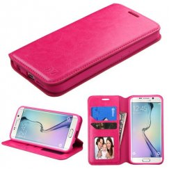 Samsung Galaxy S6 Edge Hot Pink Wallet with Tray