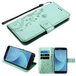 Samsung Galaxy J7 Teal Green 3D Butterfly Flower Wallet(IM023) -NP