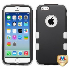 Apple iPhone 6/6s Rubberized Black/Solid White Hybrid Case