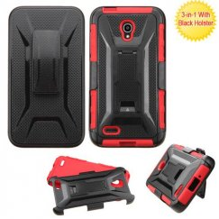 Alcatel One Touch Conquest Black/Red Advanced Armor Stand Case with Black Holster