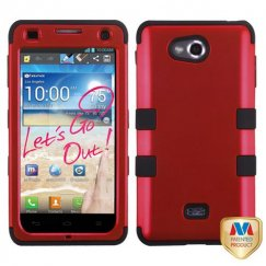 LG Spirit 4G Titanium Red/Black Hybrid Case