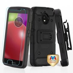 Motorola Moto E4 Black/Black 3-in-1 Kinetic Hybrid Case Combo with Black Holster and Tempered Glass Screen Protector