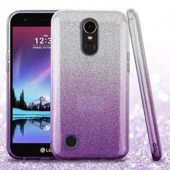 LG K10 Purple Gradient Glitter Hybrid Case