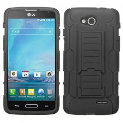 LG Optimus L90 Black/Black Car Armor Stand Case - Rubberized