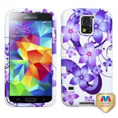 Samsung Galaxy S5 Purple Hibiscus Flower Romance /White Hybrid Case