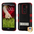 LG G2 Natural Black/Red Hybrid Case with Stand