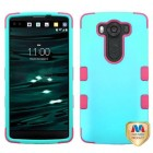 LG V10 Rubberized Teal Green/Electric Pink Hybrid Phone Protector Cover