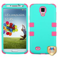 Samsung Galaxy S4 Rubberized Teal Green/Electric Pink Hybrid Case