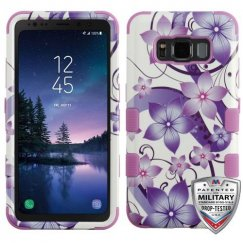 Samsung Galaxy S8 Active Purple Hibiscus Flower Romance/Electric Purple Hybrid Case