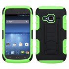 ZTE Concord 2 Black/Electric Green Car Armor Stand Case - Rubberized