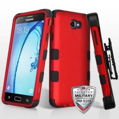 Samsung Galaxy On7 Titanium Red/Black Hybrid Case Military Grade with Black Horizontal Holster