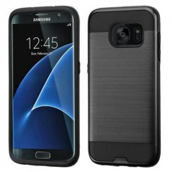 Samsung Galaxy S7 Edge Black/Black Brushed Hybrid Case