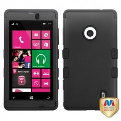 Nokia Lumia 521 Rubberized Black/Black Hybrid Case