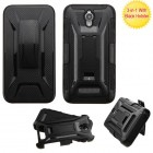 ZTE Obsidian Black/Black Advanced Armor Stand Protector Cover (With Black Holster)