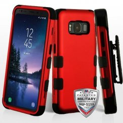 Samsung Galaxy S8 Active Titanium Red/Black Hybrid Case Military Grade with Black Horizontal Holster